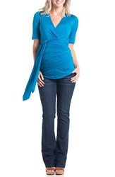 Women's Lilac Clothing 'Bella' Faux Wrap Maternity Top Blue