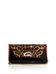 Christian Louboutin Vero Dodat Leopard Print Patent Leather Clutch Black Multi
