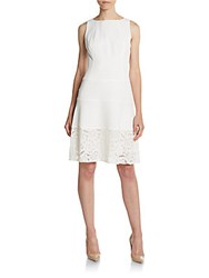 Anne Klein Lace Accented Fit And Flare Dress White
