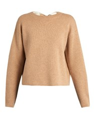 Proenza Schouler Double Faced Cashmere Knit Self Fastening Sweater Beige