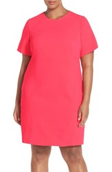 Eliza J Plus Size Women's Seam Detail Crepe Sheath Dress Pink