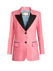 Gucci Peak Lapel Single Breasted Leather Jacket Pink