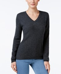 Charter Club Petite Cashmere V Neck Sweater Only At Macy's Heather Cinder