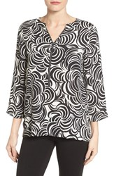 Chaus Women's Abstract Print Zip Front Blouse