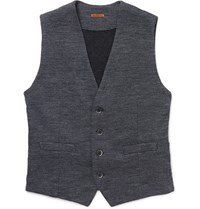 Barena Melange Wool And Cotton Blend Waistcoat Gray