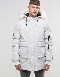 Bellfield Faux Fur Trim Parka Bone White