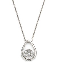 Bloomingdale's Diamond Cluster Teardrop Pendant Necklace In 14K White Gold .35 Ct. T.W.