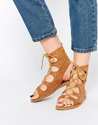 New Look Studded Ghillie Flat Sandals Stone