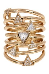 Melinda Maria Taryn Triangle Stack Ring Size 7 Metallic