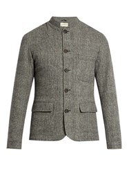 Oliver Spencer Coram Dudley Mandarin Collar Wool Jacket Grey