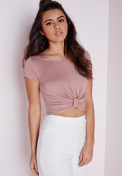 Missguided Knot Front Capped Sleeve Crop Top Mauve