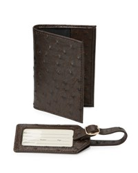 Neiman Marcus Ostrich Embossed Passport Holder And Luggage Tag Boxed Set Chocolate