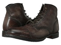 Frye Logan Cap Toe Dark Brown Polished Stonewash Cowboy Boots