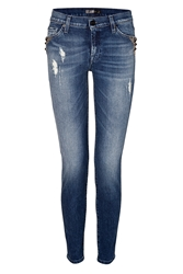7 For All Mankind The Skinny Jeans In Blue Rock Indigo