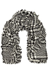 Simone Rocha Embellished Plaid Boucle Tweed Scarf