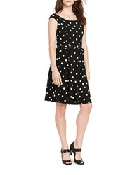 Lauren Ralph Lauren Petite Polka Dot Print Dress Black Colonial Cream