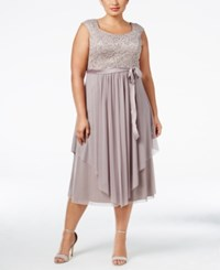 R And M Richards Plus Size Belted Lace Gown Champagne