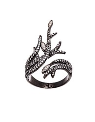 Lord And Taylor Cubic Zirconia Tree Branch Design Ring Black