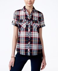 Polly And Esther Juniors' Plaid Short Sleeve Shirt Navy Yellow
