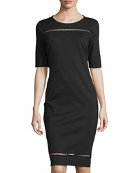 Carmen Carmen Marc Valvo Half Sleeve Ladder Stitch Dress Black