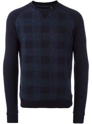 Woolrich Checked Sweater Blue