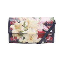 Ted Baker Baruna Botanical Trail Leather Across Body Bag Navy