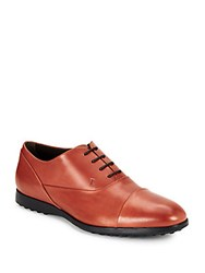 Tod's Leather Lace Up Oxfords Reddish Brown