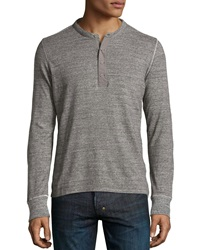 Ag Adriano Goldschmied Long Sleeve Woven Placket Henley Heather Charcoal