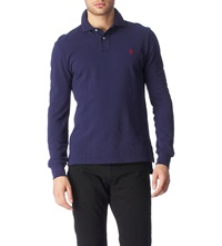 Ralph Lauren Custom Fit Long Sleeved Polo Shirt Newport Navy