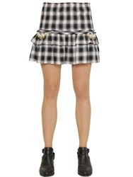 Forte Couture Elisa Embellished Ruffled Check Skirt