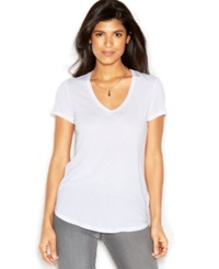 Rachel Rachel Roy Short Sleeve V Neck Solid Tee White