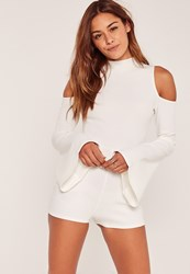 Missguided White Cold Shoulder Flare Sleeve Playsuit