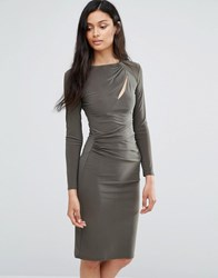 Love Long Sleeve Slash Dress Khaki Green