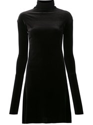 Les Animaux Velour Turtleneck Dress Black