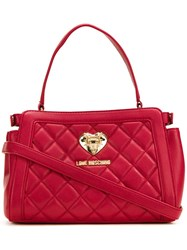 Love Moschino Quilted Barrel Tote Red