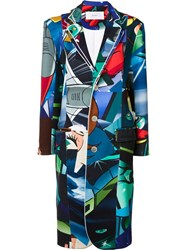 Julien David Multi Print Buttoned Coat Blue