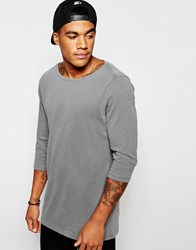 Asos Relaxed Slub Longline 3 4 Sleeve T Shirt With Boat Neck In Gray Gray