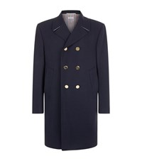 Thom Browne Gold Button Peacoat Male Navy