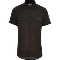 River Island Mens Black Washed Short Sleeve Denim Shirt