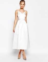 Jarlo Midi Prom Dress In Sateen With Mesh Inserts At Waist White