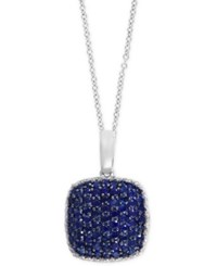Effy Collection Royal Bleu By Effy Sapphire 1 1 2 Ct. T.W. And Diamond 1 5 Ct. T.W. Pendant Necklace In 14K White Gold Blue