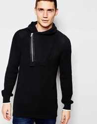G Star G Star Shawl Knit Jumper Filler Aero Zip Neck In Black Mazarine Blue Black
