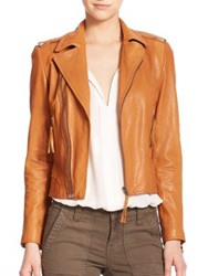 Joie Ailey Leather Jacket Caviar Natural Honey