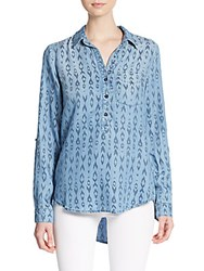 Chelsea And Theodore Printed Chambray Shirt Washed Blue
