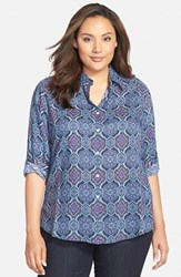 Plus Size Women's Foxcroft 'Medallion Paisley' Print Tencel Shirt Blue Multi