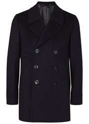 Paul Smith Checked Navy Stretch Wool Peacoat