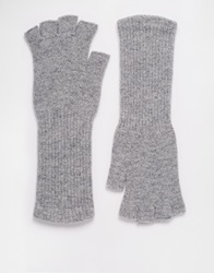 Asos Long Wool Fingerless Gloves Darkgrey