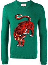 Gucci Tiger Intarsia Jumper Green