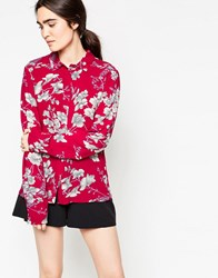 Minimum Thit Floral Printed Shirt Deep Red