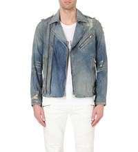 Balmain Distressed Denim Biker Jacket Bleu Blue